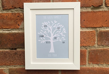 Personalised family tree print from Lilypad Designs