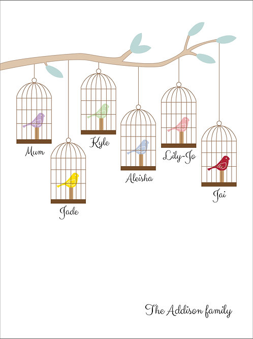 Personalised family bird cages print