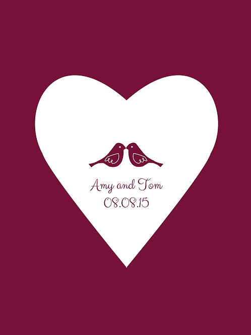 Personalised love birds print