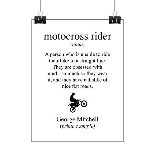 Personalised motocross rider print