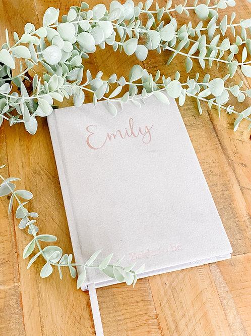 Personalised grey velvet notebook