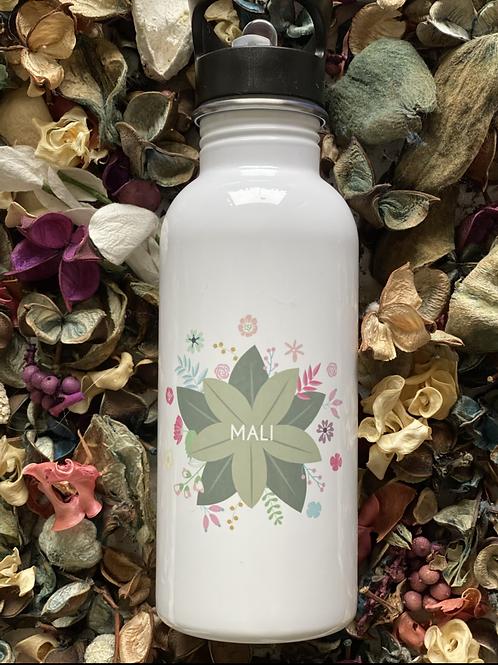 Personalised flowers water bottle