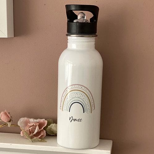 Personalised rainbow flip straw water bottle