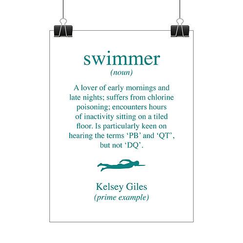Personalised elite swimmer print