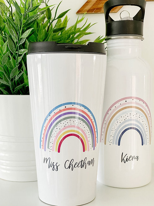 Personalised rainbow travel mug