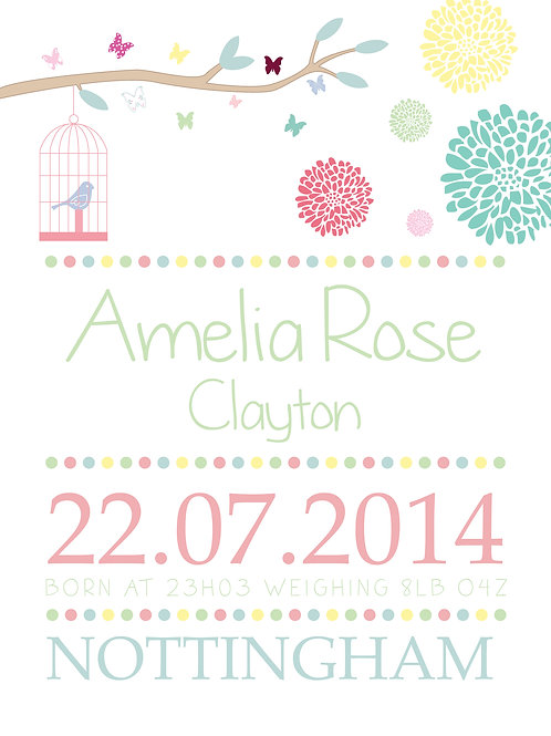 Personalised new baby girl print