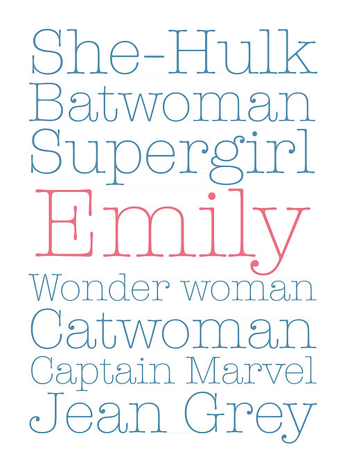 Personalised girls superhero print