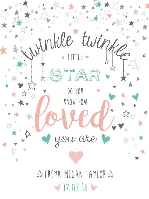 Personalised twinkle little star print
