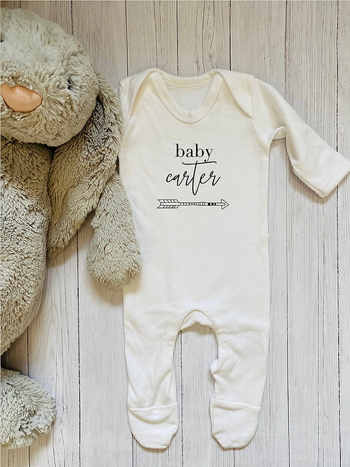 Personalised arrow babygrow