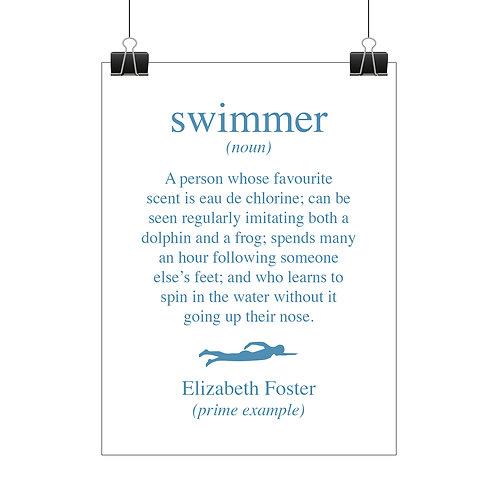 Personalised swimmer print