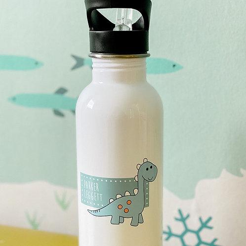 Personalised dinosaur flip straw water bottle