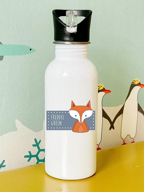Personalised animal flip straw water bottle