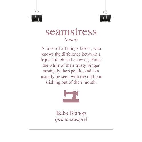 Personalised seamstress print