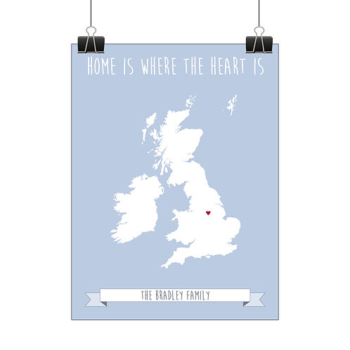 Personalised heart map print