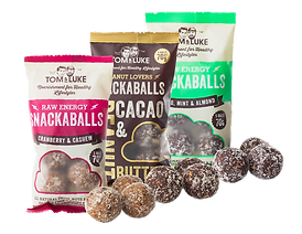 Tom and Luke products. Three different flavours of snackballs