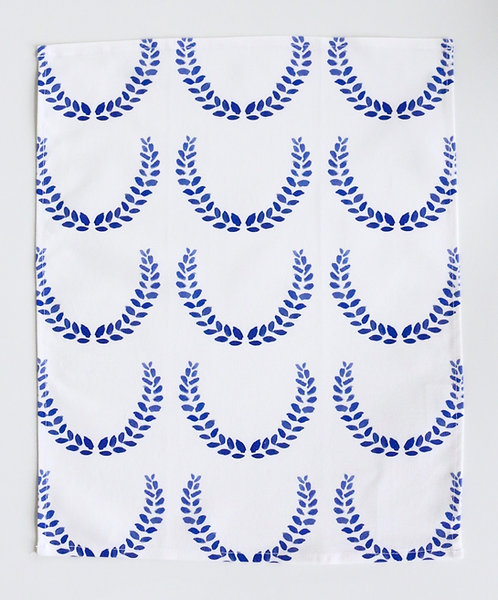 Laurel Wreath Bar Towel - Indigo (small)