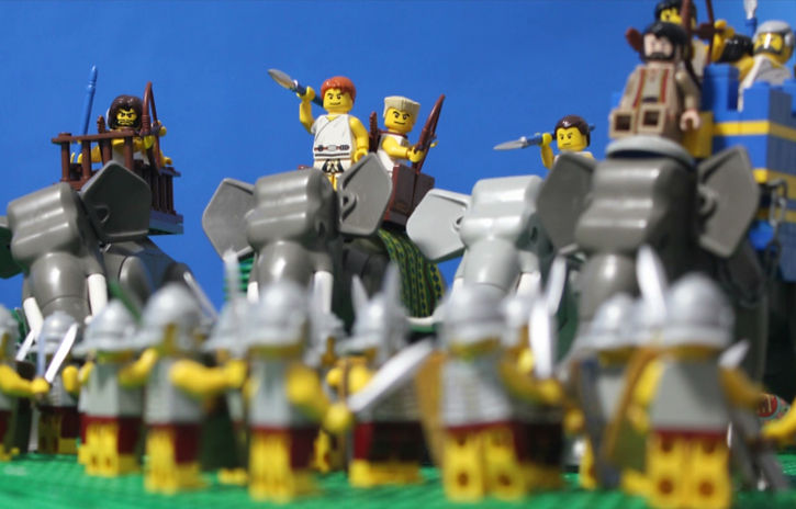The Lego Battle of Asculum pitting hoplites and elephants against the Roman legionaries