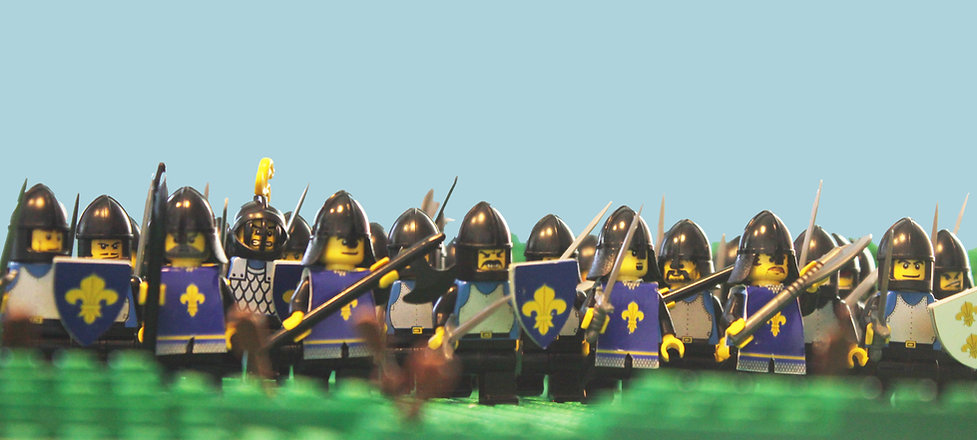 Armored men at arms of France at the Lego Battle of Crecy
