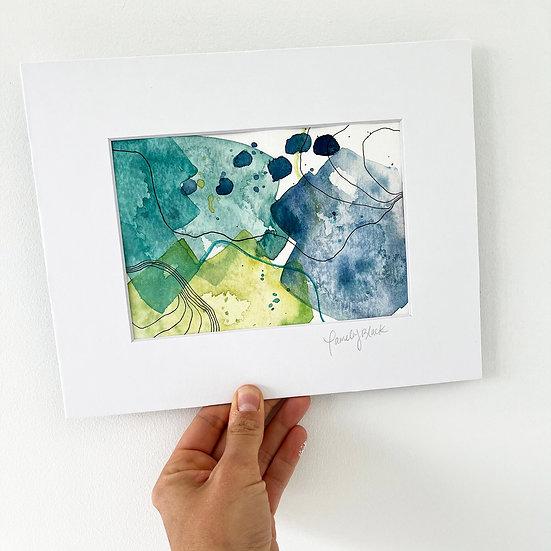 Green/Blue Color Study / Original Watercolor on Paper
