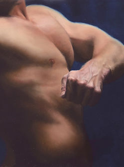 Oil painting study of male figure