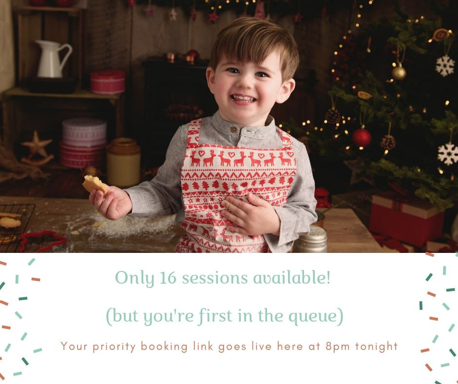 Details of booking Christmas Baking Mini Session Photo Shoots with Rachel Burnside Photography
