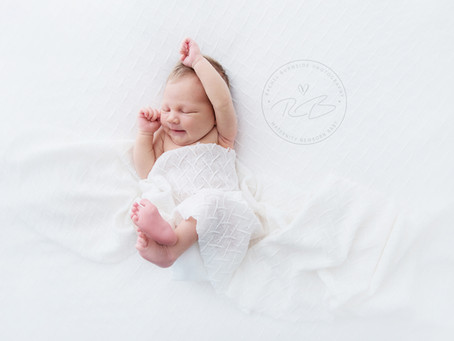 White Onesie Newborn Session for Baby G