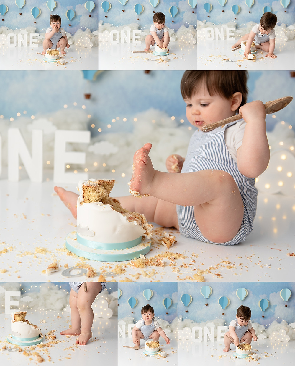 Baby boy enjoying Cake Smash Photo Shoot