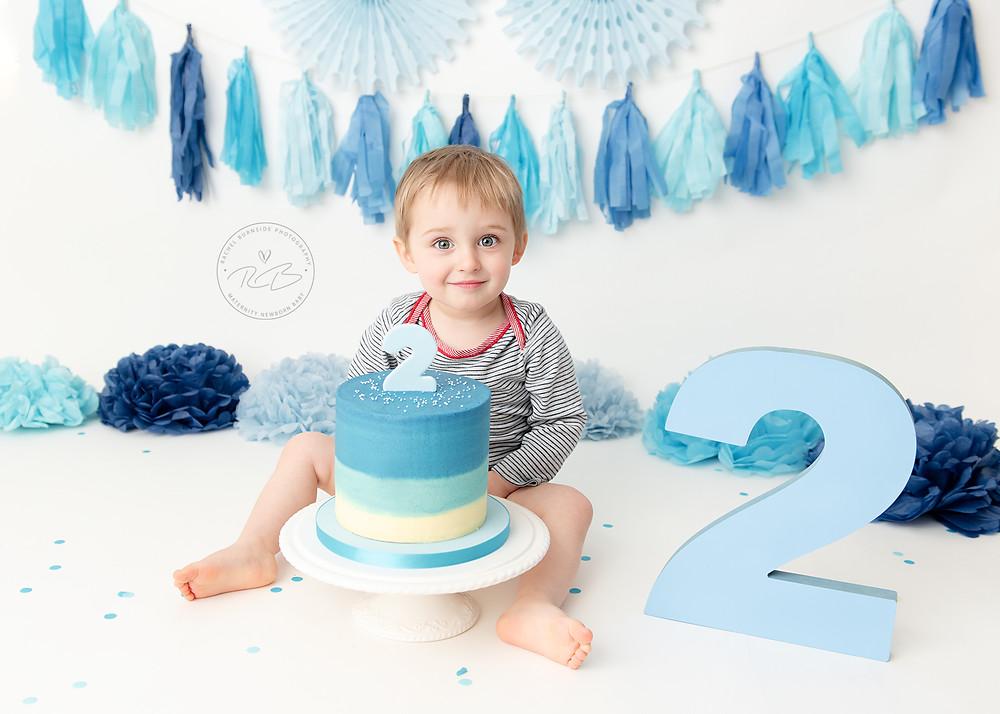 Awe Inspiring 2Nd Birthday Cake Smash Session For Baby H With Rachel Burnside Funny Birthday Cards Online Alyptdamsfinfo