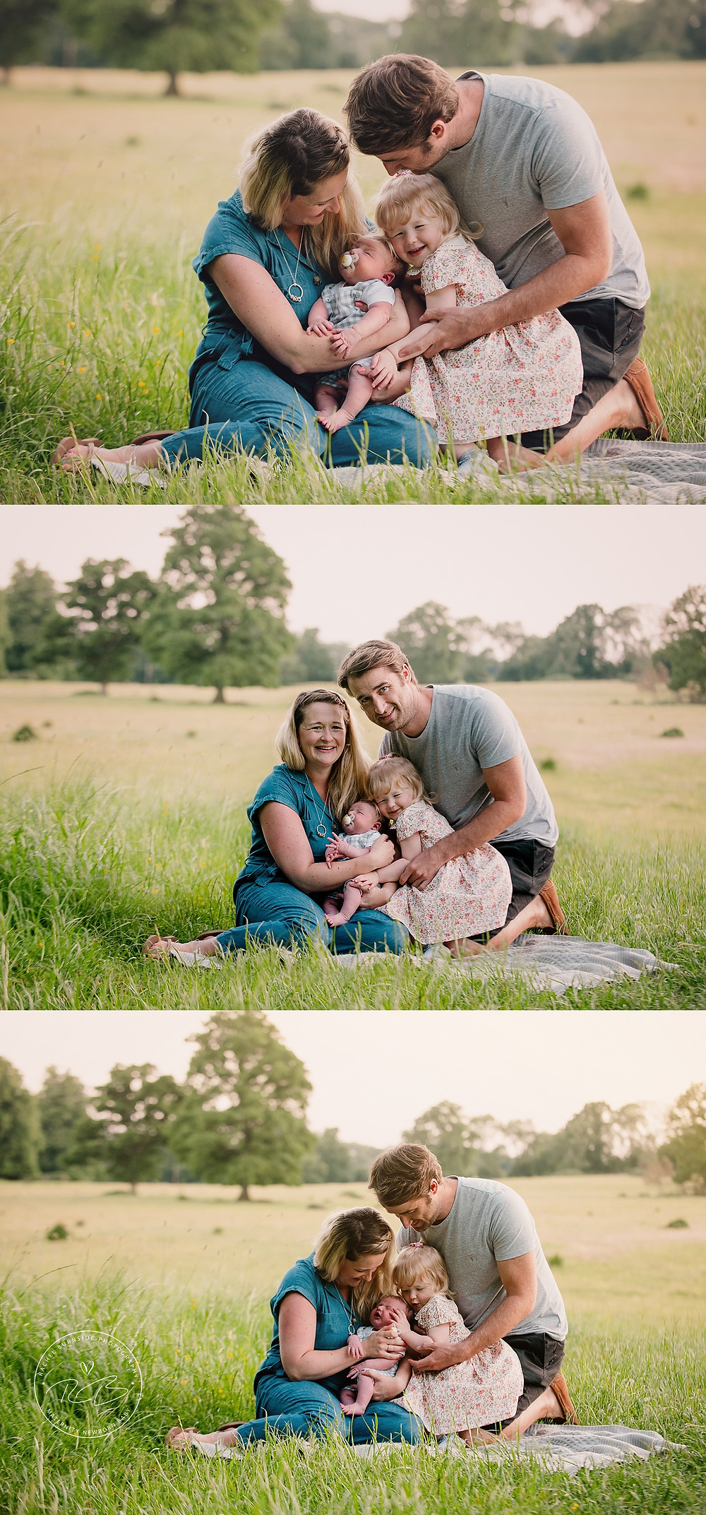 outdoor family photography session with newborn baby