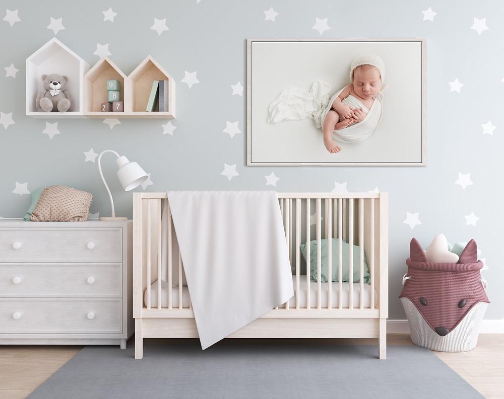 Newborn baby photography art in nursery