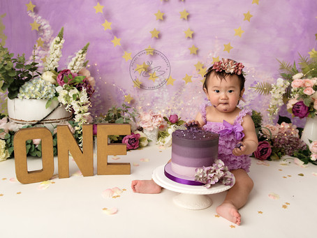 Floral 1st Birthday Cake Smash Session for Baby N