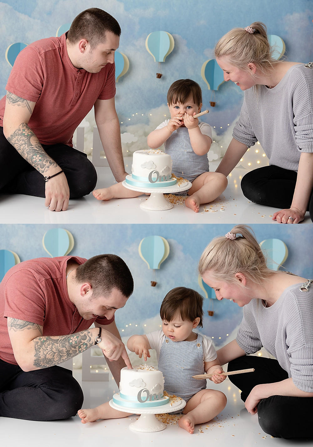 Parents with baby boy in cake smash photo shoot