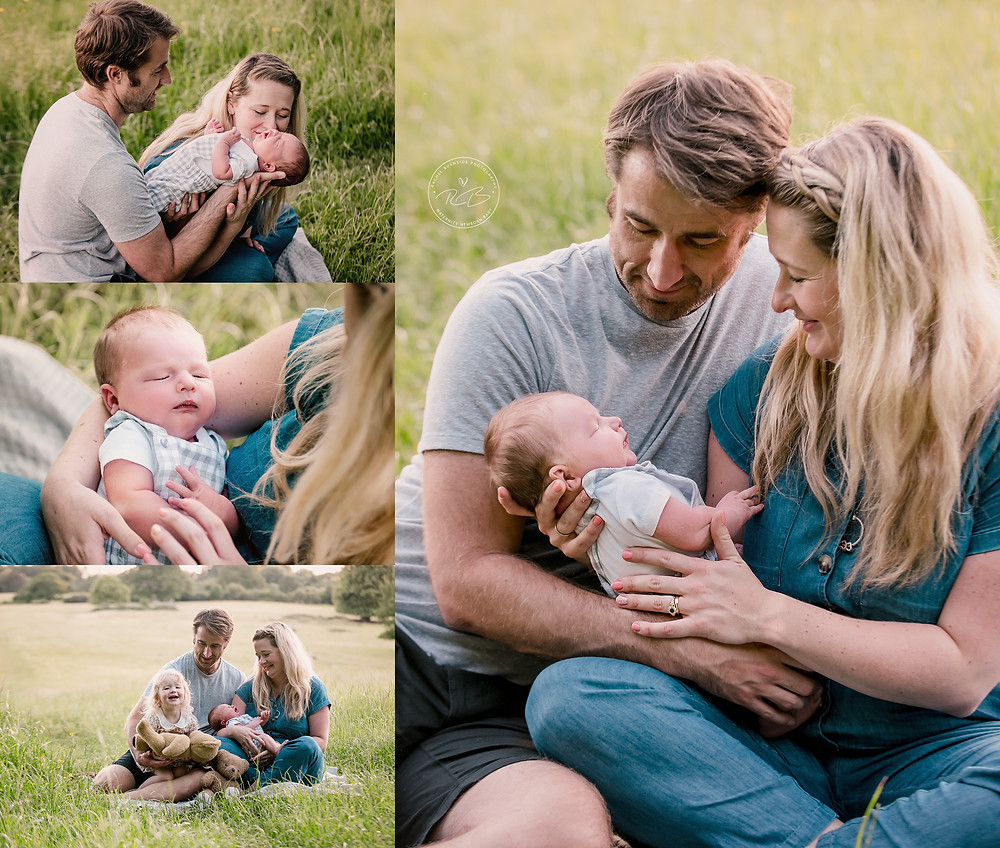 Outdoor family newborn photography