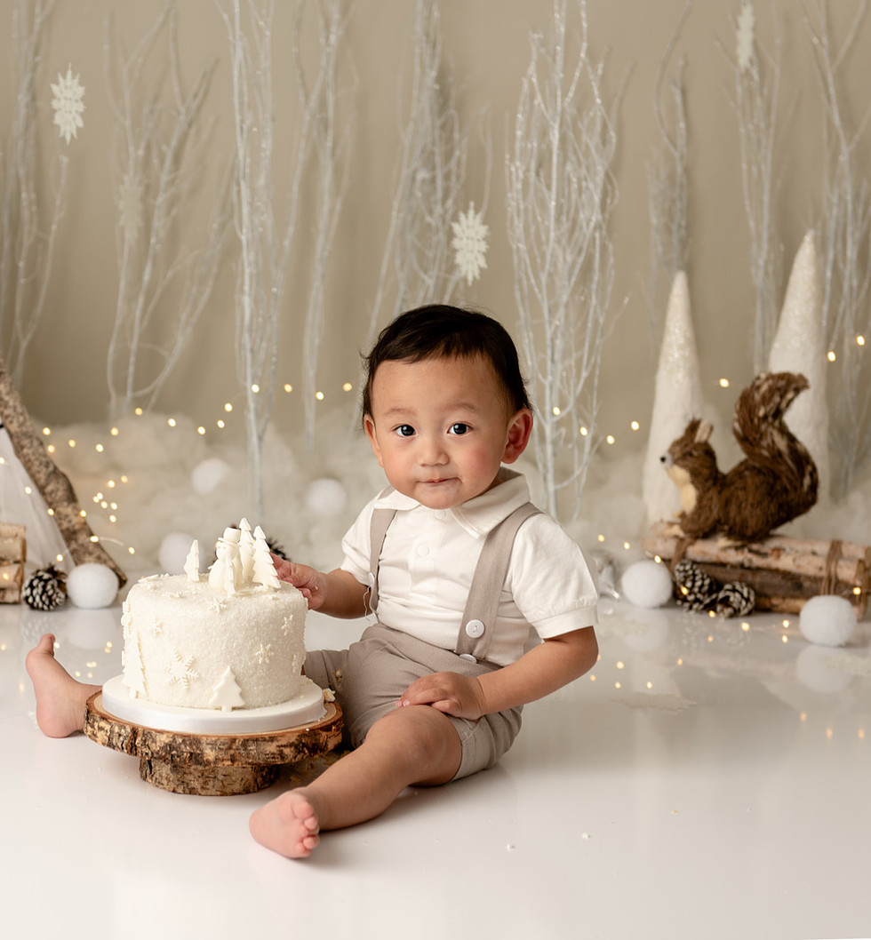 Baby boy cake smash photo shoot in Salisbury, Wiltshire with rustic winter theme.