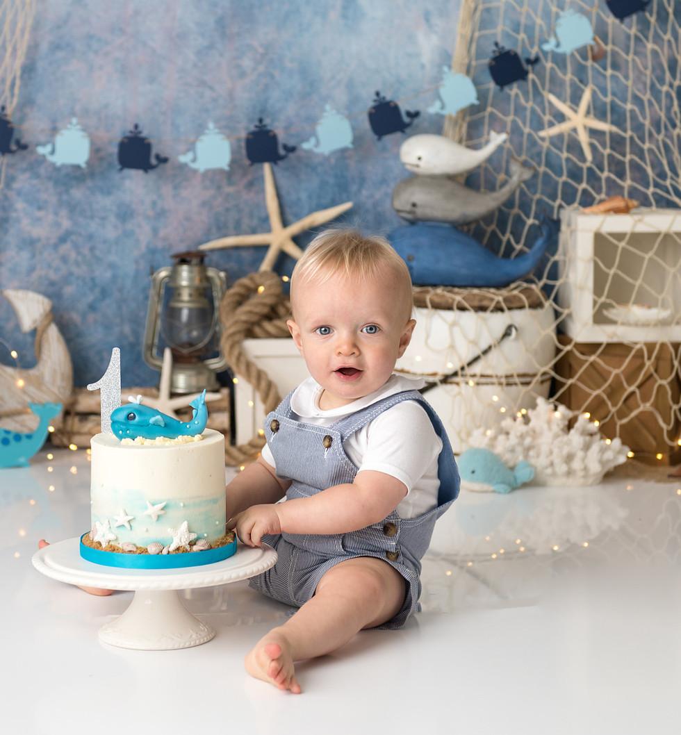 Baby boy cake smash photo shoot with whale theme