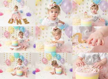 Pastel Rainbow Cake Smash for 1 year old Baby E with Rachel Burnside Photography, Wiltshire