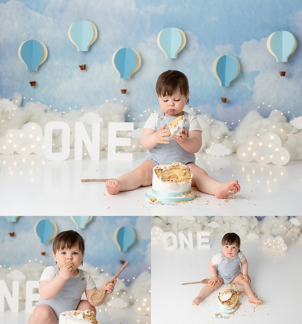 Baby Boy hot air balloon Cake Smash UK