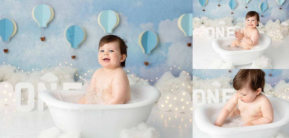 Blue Cake Smash bath photo shoot