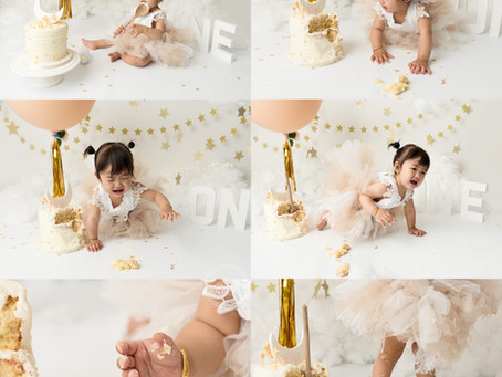 Magical Stars Cake Smash Session for Baby P with Rachel Burnside Photography
