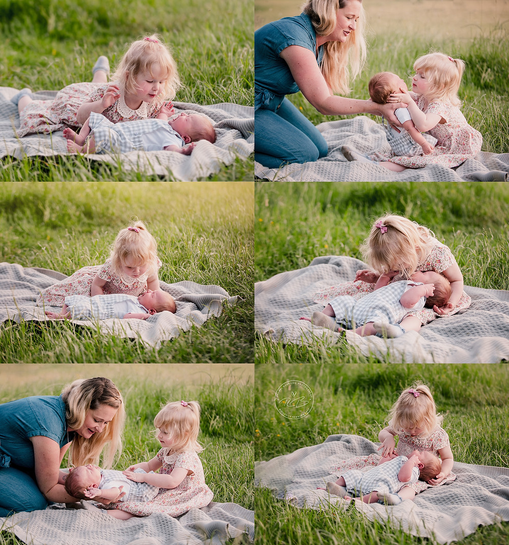 outdoor newborn photography session with sibling