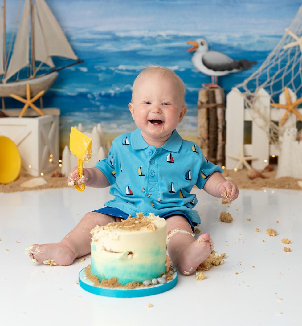 seaside themed cake smash photography