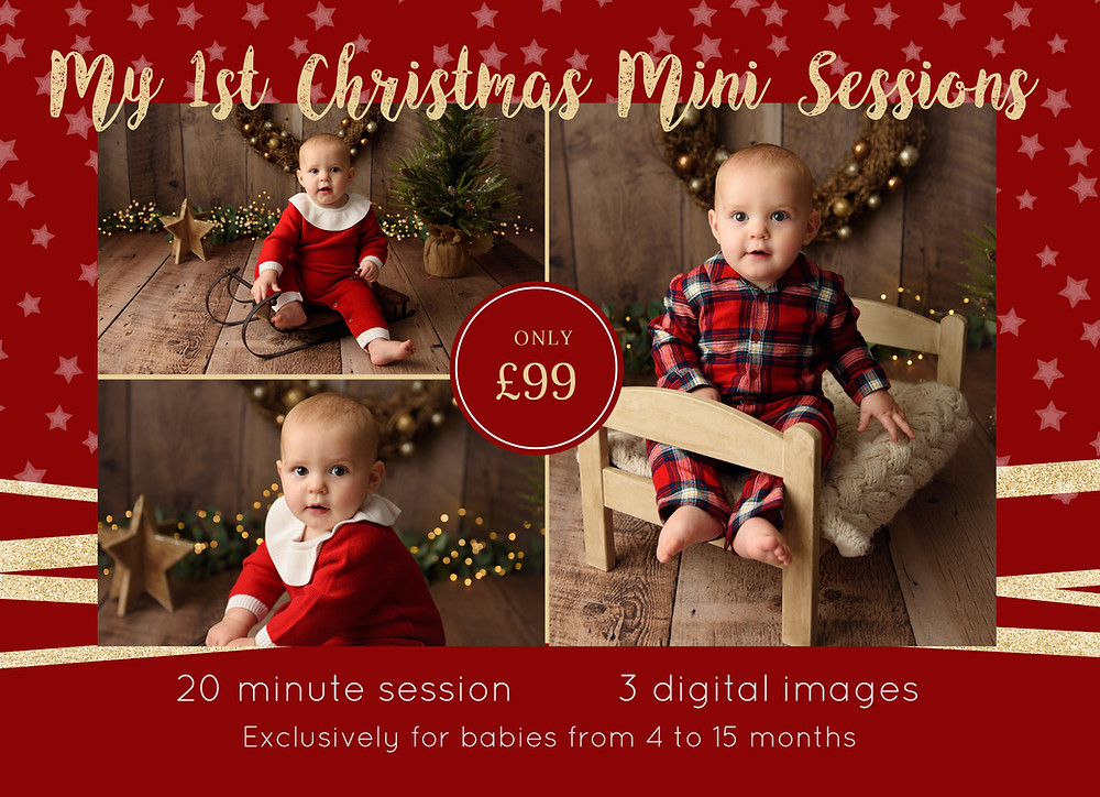 Details of Christmas Mini Session photo shoot for babies in Salisbury, Wiltshire