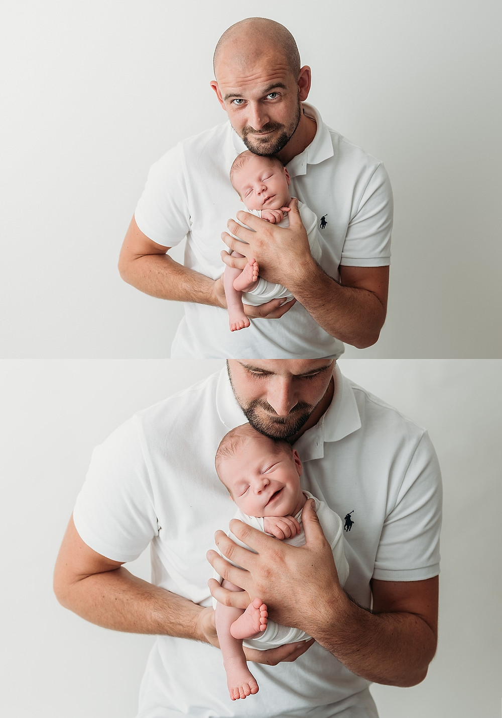 dad with newborn baby photography