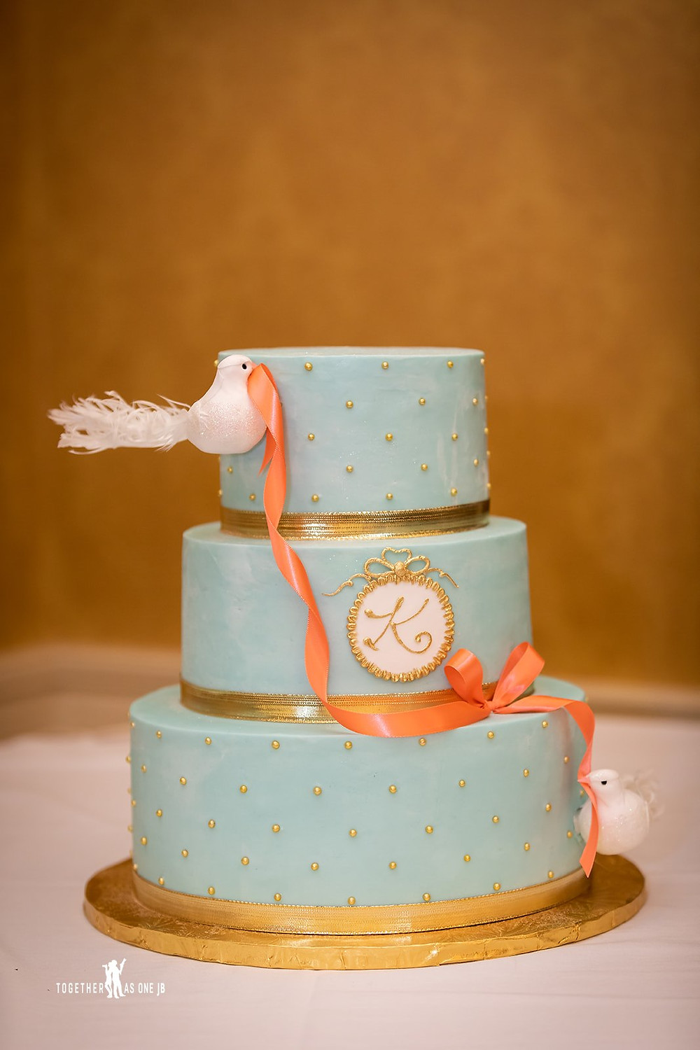 Cincinnati family photographer captures image of beautiful baby shower blue cake.