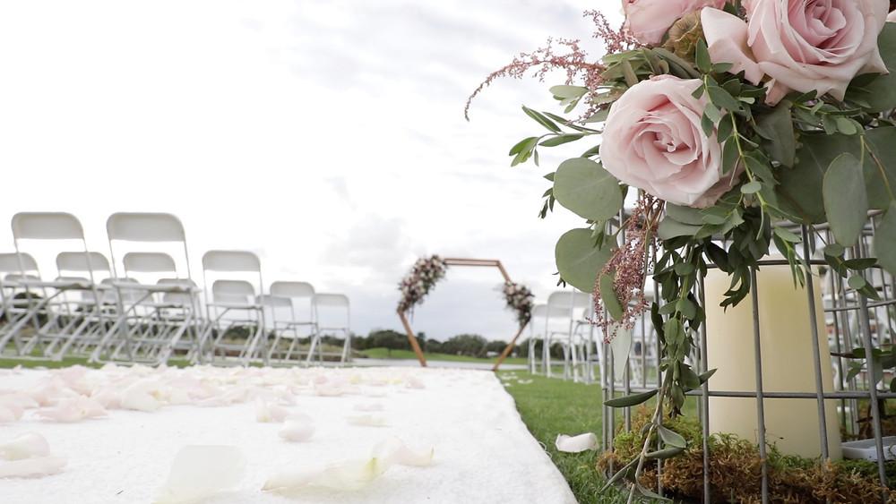 Cincinnati wedding photographer captures image of wedding altar outdoors.