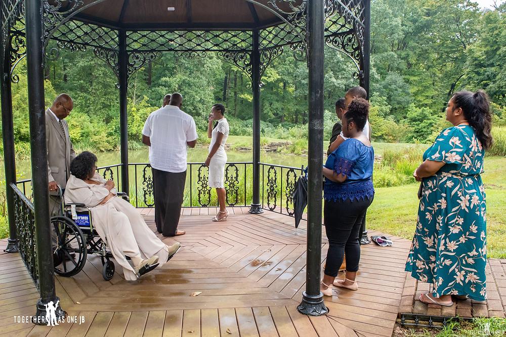 Small intimate wedding in gazebo in Cincinnati Mt. Airy Park with under 10 people
