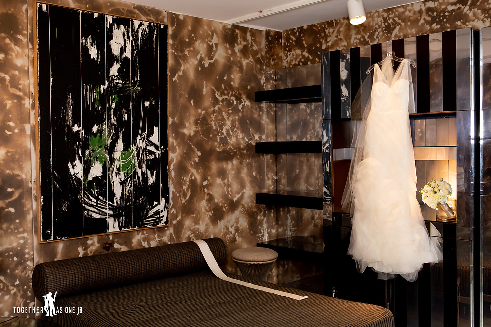Wedding Dress in bridal suite at the M Building in Wynwood