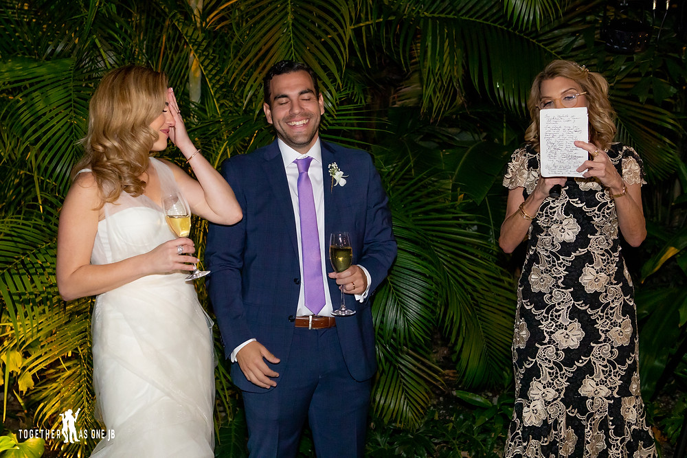 Mother of Bride giving toast during wedding reception in the M Building in Wynwood