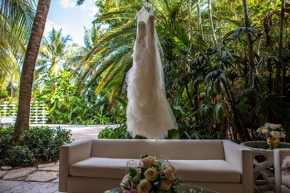 Wedding dress at the M Building in Wynwood wedding venue