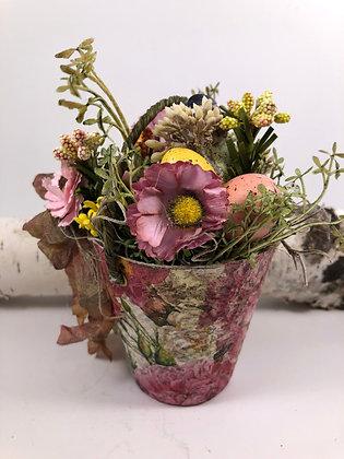 Spring Easter Floral Peat Pot Home Decor